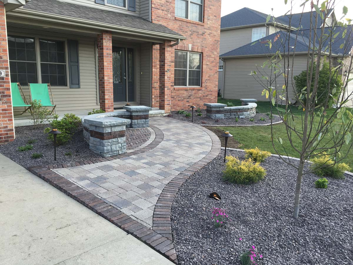 Front renovation with small seating area serenity creek for Landscaping small area front yard
